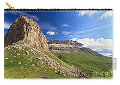 Carry-all Pouch featuring the photograph Sella Mountain And Pordoi Pass by Antonio Scarpi