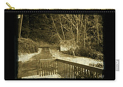 Sepia - Country Road First Snow Carry-all Pouch by Absinthe Art By Michelle LeAnn Scott