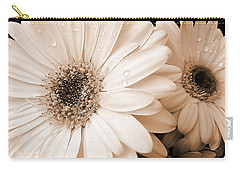 Sepia Gerber Daisy Flowers Carry-all Pouch by Jennie Marie Schell