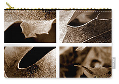 Carry-all Pouch featuring the photograph Sepia Leaf Collage by Lauren Radke