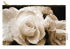 Sepia Roses With Rain Drops Carry-all Pouch