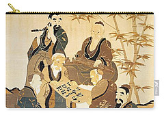Seven Wise Men In The Bamboo Forest Painted Silk Carry-all Pouch