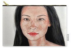 Carry-all Pouch featuring the drawing Sexy Freckle Faced Beauty Lucy Liu by Jim Fitzpatrick