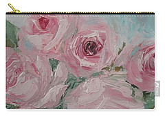Shabby Chic Pink Roses Oil Palette Knife Painting Carry-all Pouch