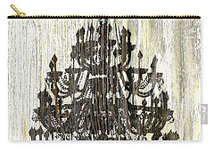 Shabby Chic Rustic Black Chandelier On White Washed Wood Carry-all Pouch by Suzanne Powers