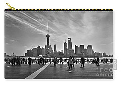 Shanghai Skyline Black And White Carry-all Pouch