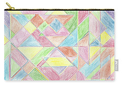 Carry-all Pouch featuring the drawing Shapes Of Colour by Tracey Williams