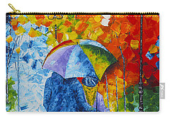 Carry-all Pouch featuring the painting Sharing Love On A Rainy Evening Original Palette Knife Painting by Georgeta Blanaru