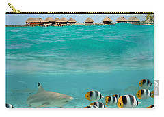 Over-under With Shark And Butterfly Fish At Bora Bora Carry-all Pouch by IPics Photography