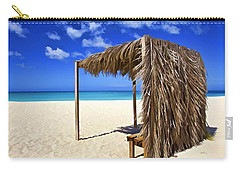 Shelter On A White Sandy Caribbean Beach With A Blue Sky And White Clouds Carry-all Pouch