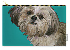Shih Tzu On Turquoise Carry-all Pouch