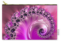 Shiny Pink Fractal Spiral Carry-all Pouch by Matthias Hauser