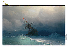 Ship On Stormy Seas Carry-all Pouch by Ivan Konstantinovich Aivazovsky
