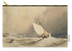 Ships At Sea Off Folkestone Harbour Storm Approaching Carry-all Pouch by Anthony Vandyke Copley Fielding