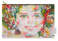 Shirley Temple - Watercolor Portrait.1 Carry-all Pouch by Fabrizio Cassetta