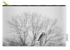Short-eared Owl In Black And White Carry-all Pouch