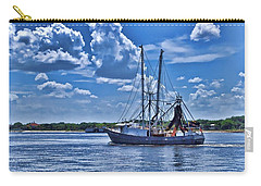 Carry-all Pouch featuring the photograph Shrimp Boat Heading To Sea by Ludwig Keck
