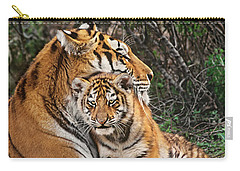 Siberian Tiger Mother And Cub Endangered Species Wildlife Rescue Carry-all Pouch by Dave Welling