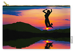 Silhouette Of Happy Woman Jumping At Sunset Carry-all Pouch