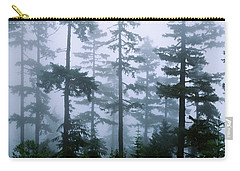 Silhouette Of Trees With Fog Carry-all Pouch