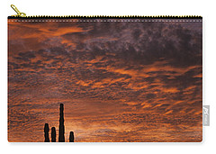 Silhouetted Saguaro Cactus Sunset At Dusk With Dramatic Clouds Carry-all Pouch