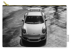 Carry-all Pouch featuring the digital art Silver Porsche 911 Gt3 by Douglas Pittman