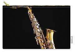Single Saxophone Against Black Carry-all Pouch