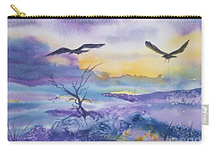 Carry-all Pouch featuring the painting Sister Ravens by Ellen Levinson