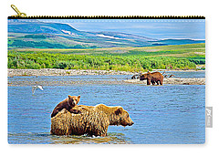 Six-month-old Cub Riding On Mom's Back To Cross Moraine River In Katmai National Preserve-alaska Carry-all Pouch