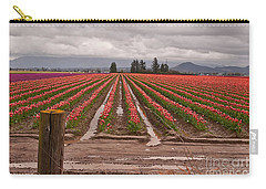 Carry-all Pouch featuring the photograph Skagit Valley Tulip Farmlands In Spring Storm Art Prints by Valerie Garner