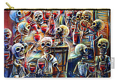 Skeleton Wine Party Carry-all Pouch by Heather Calderon