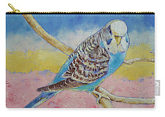 Sky Blue Budgie Carry-all Pouch by Michael Creese