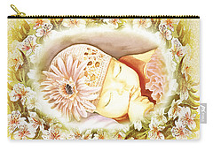 Carry-all Pouch featuring the painting Sleeping Baby Vintage Dreams by Irina Sztukowski