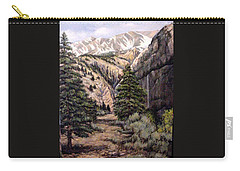 Carry-all Pouch featuring the painting Sleeping Faces In The Rock by Donna Tucker