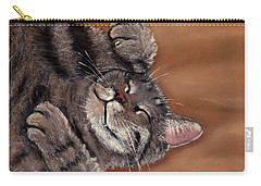 Carry-all Pouch featuring the painting Sleepy Kitty by Anastasiya Malakhova