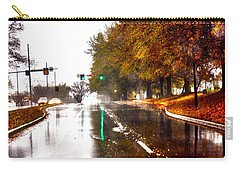 Carry-all Pouch featuring the photograph Slick Streets Rainy View by Lesa Fine