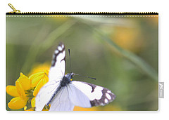Carry-all Pouch featuring the photograph Small White Butterfly On Yellow Flower by Belinda Greb