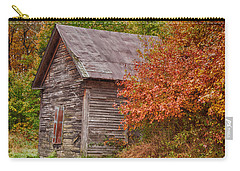 Carry-all Pouch featuring the photograph Small Wooden Shack In The Autumn Colors by Jeff Folger