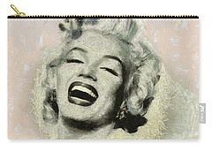 Smile Marilyn Monroe Black And White Carry-all Pouch