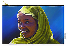 Carry-all Pouch featuring the painting Smiling Lady by Anthony Mwangi