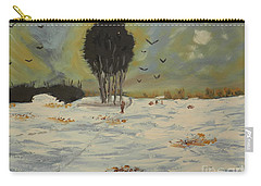Carry-all Pouch featuring the painting Snow At Christmas by Pamela  Meredith
