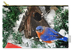 Snow Bluebird Christmas Card Carry-all Pouch