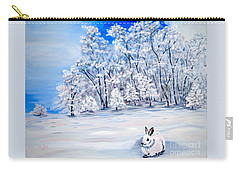 Carry-all Pouch featuring the painting Snow Bunny by Phyllis Kaltenbach