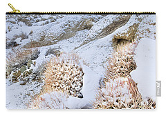 Carry-all Pouch featuring the photograph Snow Covered Cactus Below Mount Whitney Eastern Sierras by Dave Welling