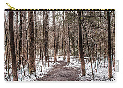 Carry-all Pouch featuring the photograph Snow Covered Trail by Debbie Green