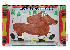 Carry-all Pouch featuring the painting Snow Dog by Diane Pape