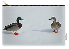 Carry-all Pouch featuring the photograph Snow Ducks by Mim White