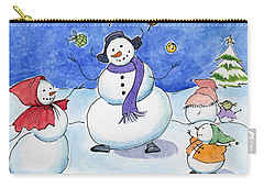 Snow Folks - Family Time. Carry-all Pouch by Katherine Miller