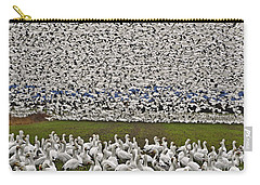 Carry-all Pouch featuring the photograph Snow Geese By The Thousands by Valerie Garner