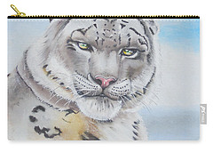 Carry-all Pouch featuring the painting Snow Leopard by Thomas J Herring